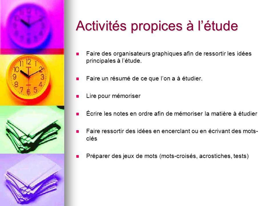 Activités propices à l'étude