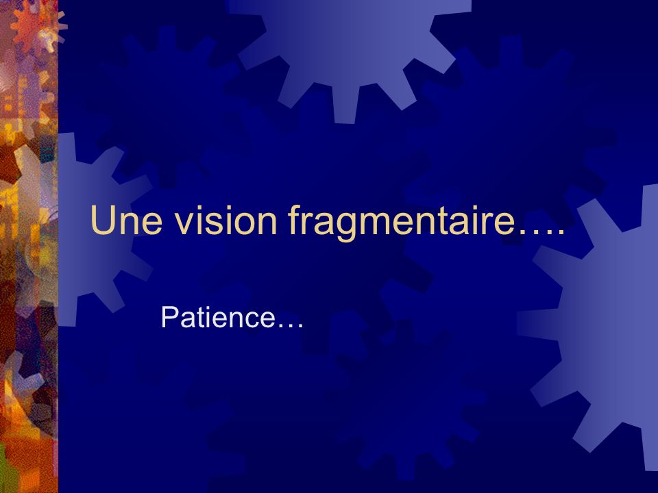 Une vision fragmentaire….