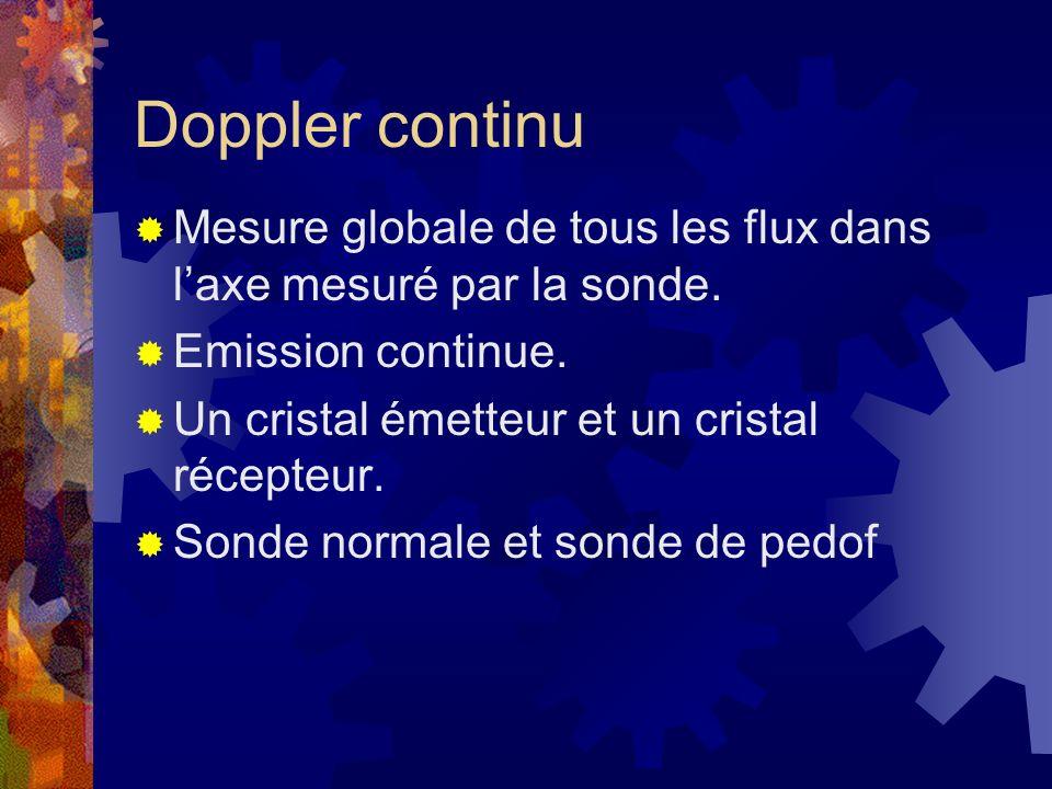 Doppler continu Mesure globale de tous les flux dans l'axe mesuré par la sonde. Emission continue.