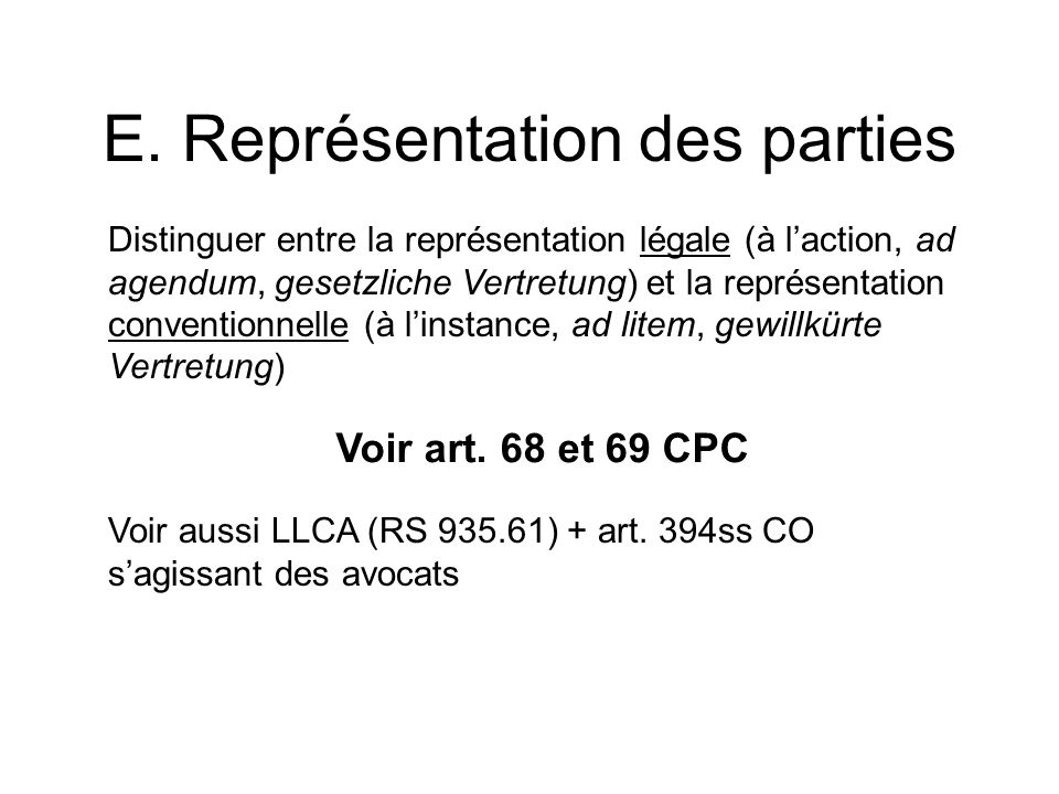 E. Représentation des parties