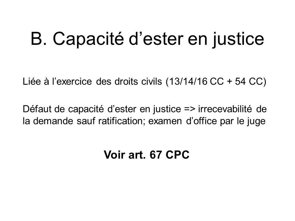 B. Capacité d'ester en justice