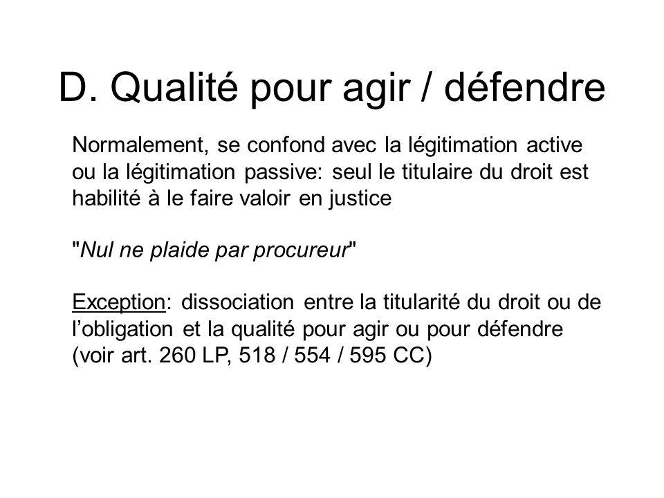 D. Qualité pour agir / défendre