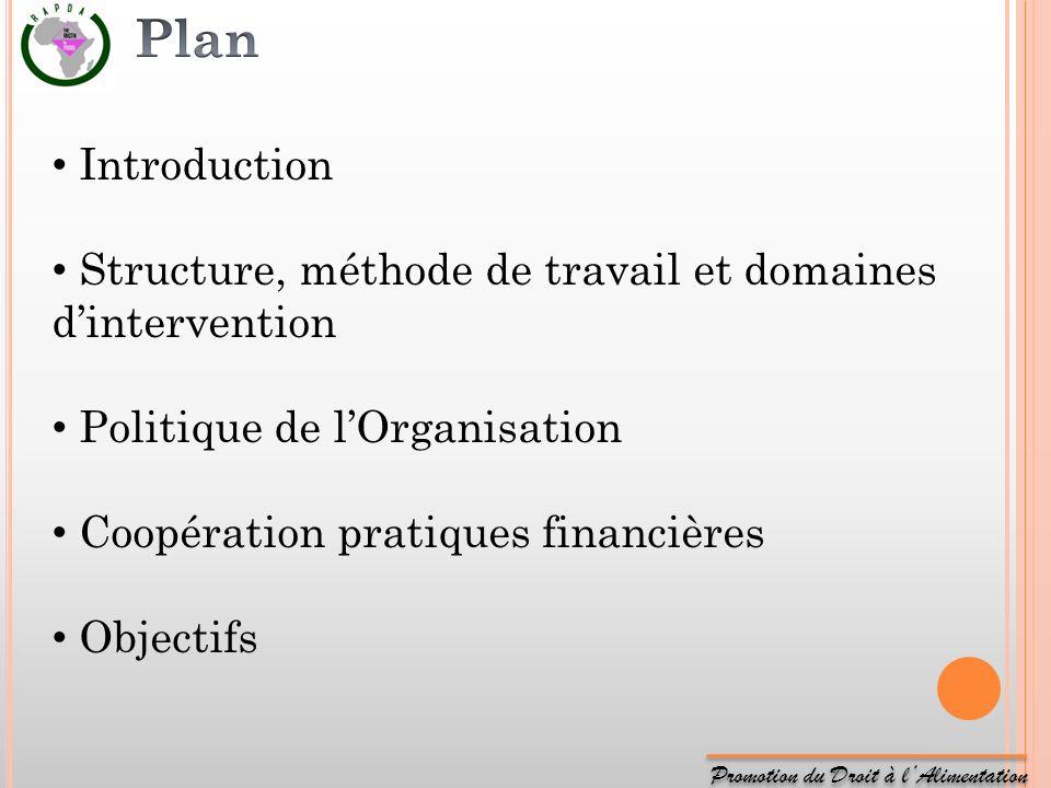 Plan Introduction. Structure, méthode de travail et domaines d'intervention. Politique de l'Organisation.