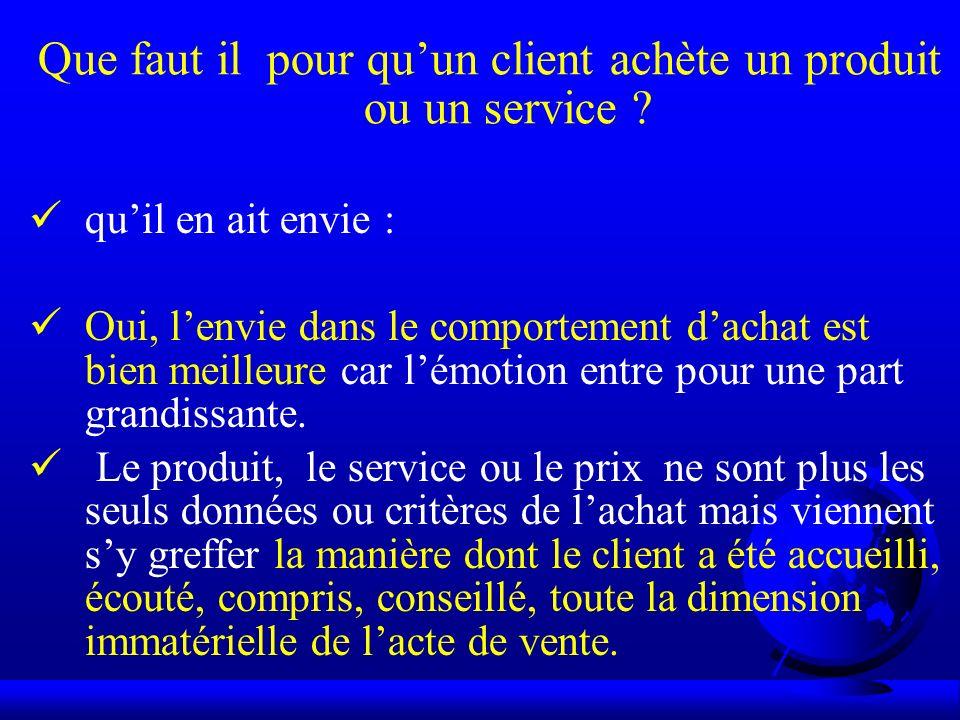 Que faut il pour qu'un client achète un produit ou un service