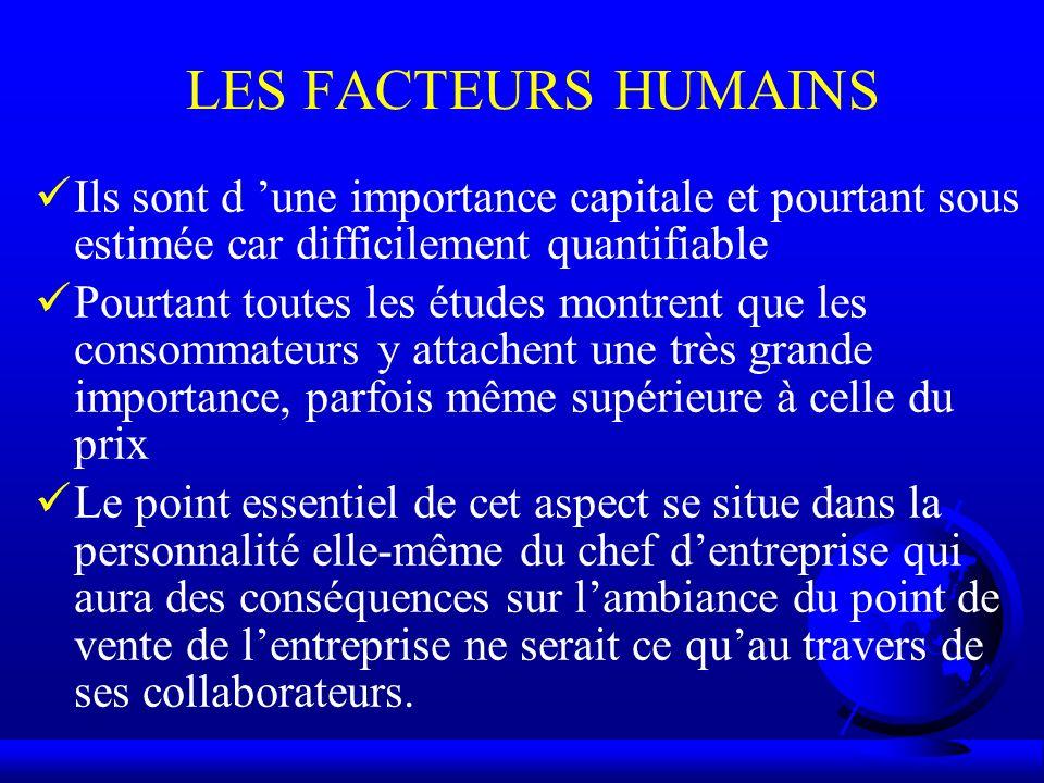 LES FACTEURS HUMAINS Ils sont d 'une importance capitale et pourtant sous estimée car difficilement quantifiable.