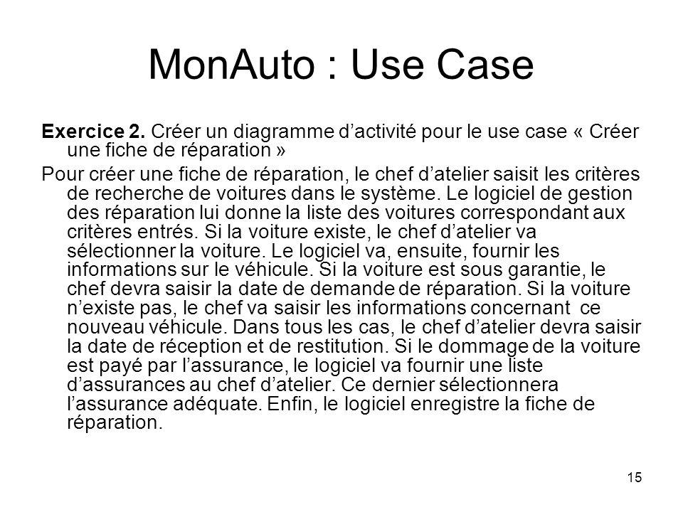 MonAuto : Use Case Exercice 2. Créer un diagramme d'activité pour le use case « Créer une fiche de réparation »