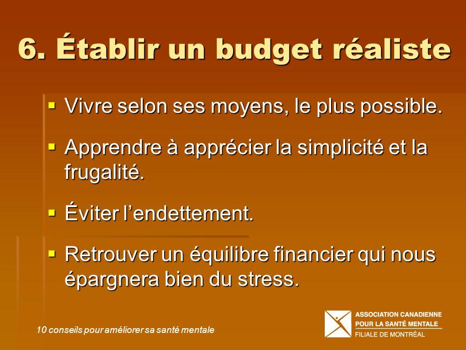6. Établir un budget réaliste