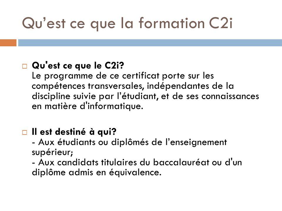 Qu'est ce que la formation C2i