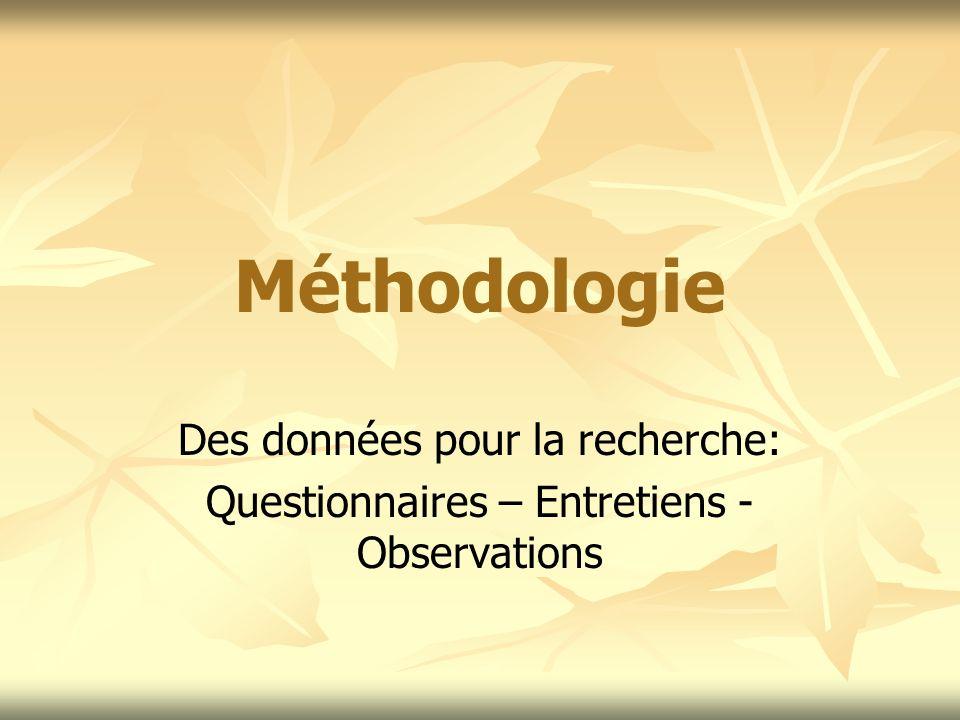 Méthodologie Des données pour la recherche: