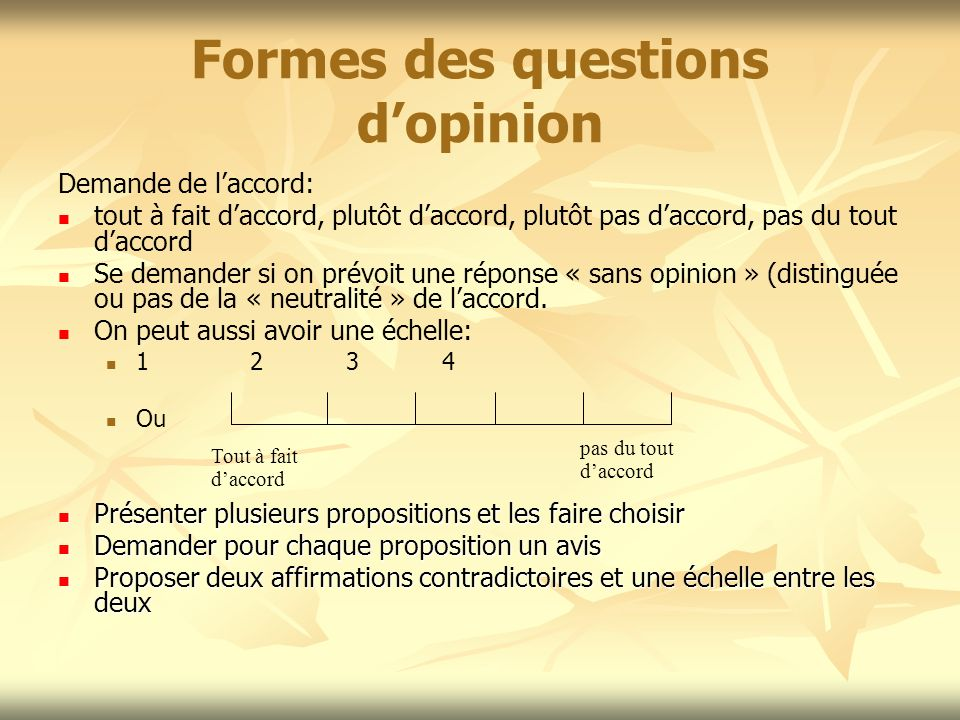 Formes des questions d'opinion