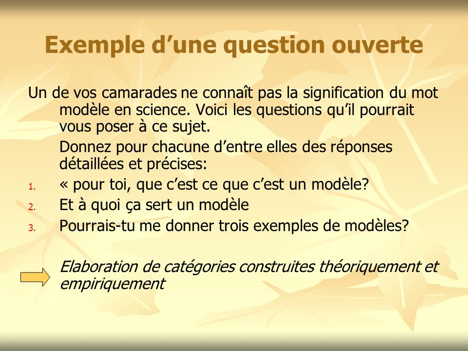 Exemple d'une question ouverte