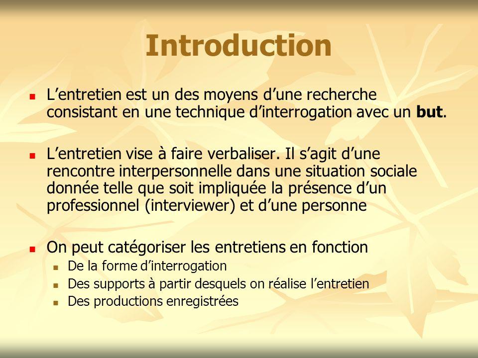 Introduction L'entretien est un des moyens d'une recherche consistant en une technique d'interrogation avec un but.