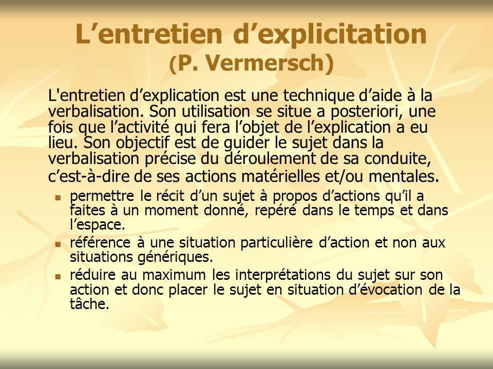 L'entretien d'explicitation (P. Vermersch)