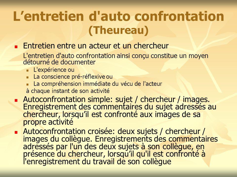 L'entretien d auto confrontation (Theureau)
