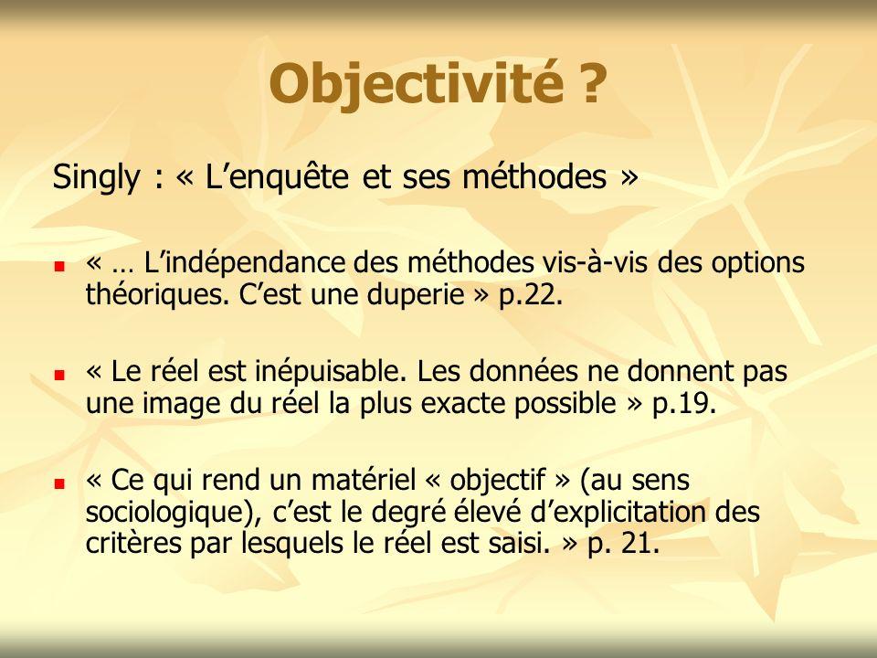 Objectivité Singly : « L'enquête et ses méthodes »