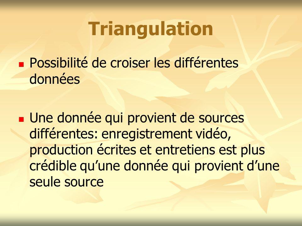 Triangulation Possibilité de croiser les différentes données