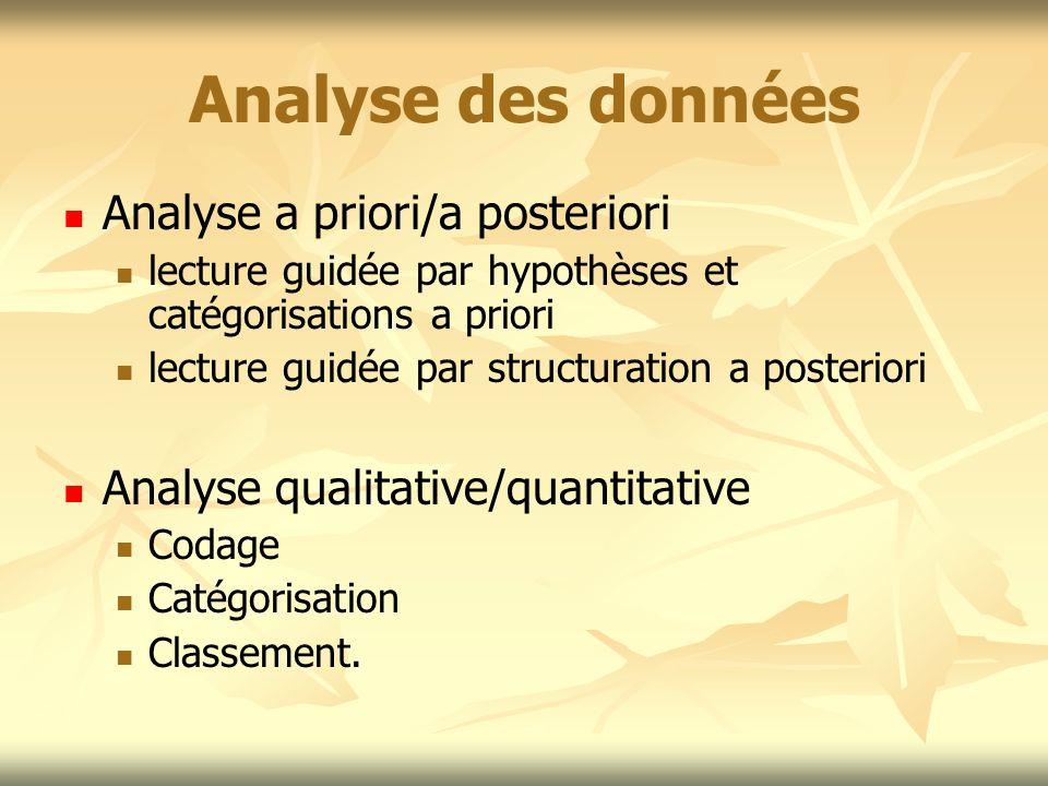 Analyse des données Analyse a priori/a posteriori