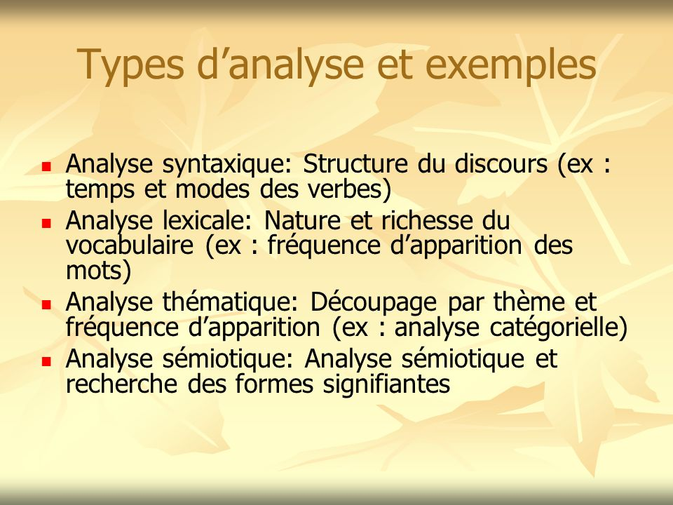 Types d'analyse et exemples