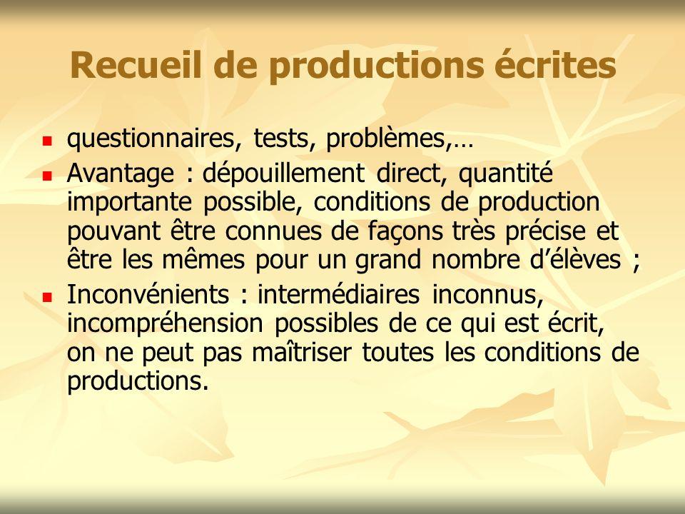 Recueil de productions écrites