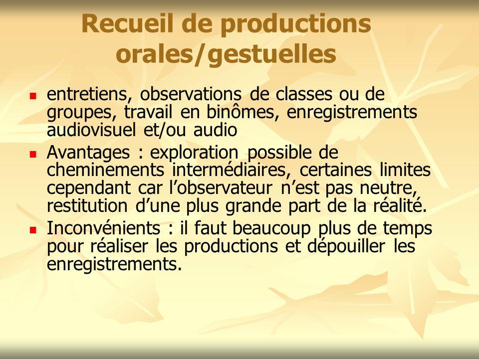 Recueil de productions orales/gestuelles
