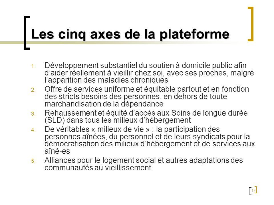 Les cinq axes de la plateforme