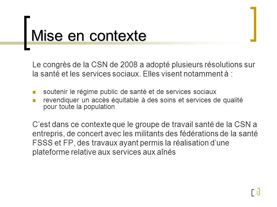 Mise en contexte Le congrès de la CSN de 2008 a adopté plusieurs résolutions sur. la santé et les services sociaux. Elles visent notamment à :