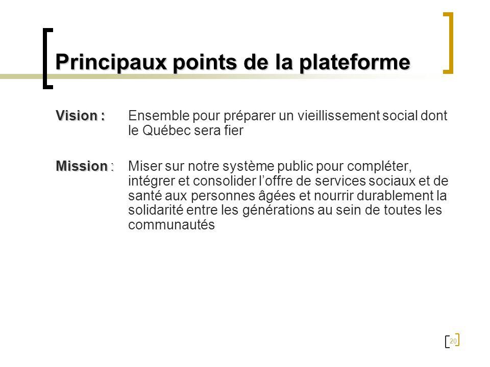 Principaux points de la plateforme