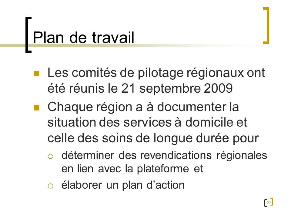 Plan de travail Les comités de pilotage régionaux ont été réunis le 21 septembre 2009.