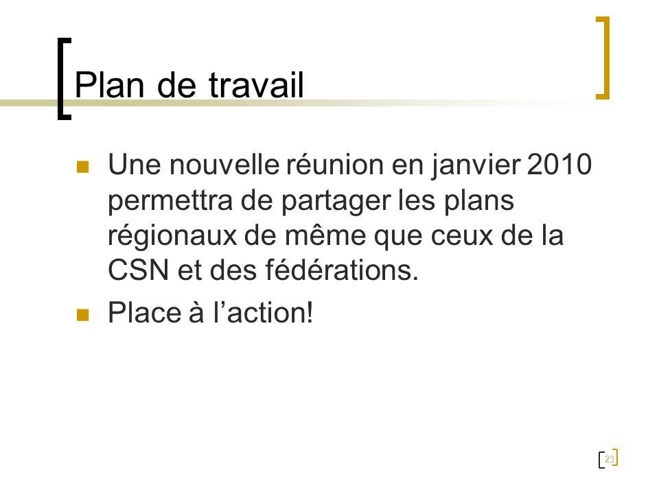 Plan de travail Une nouvelle réunion en janvier 2010 permettra de partager les plans régionaux de même que ceux de la CSN et des fédérations.