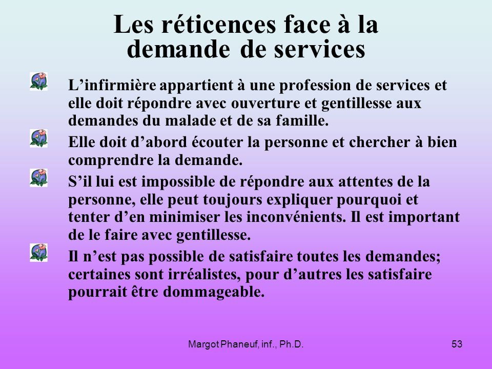 Les réticences face à la demande de services