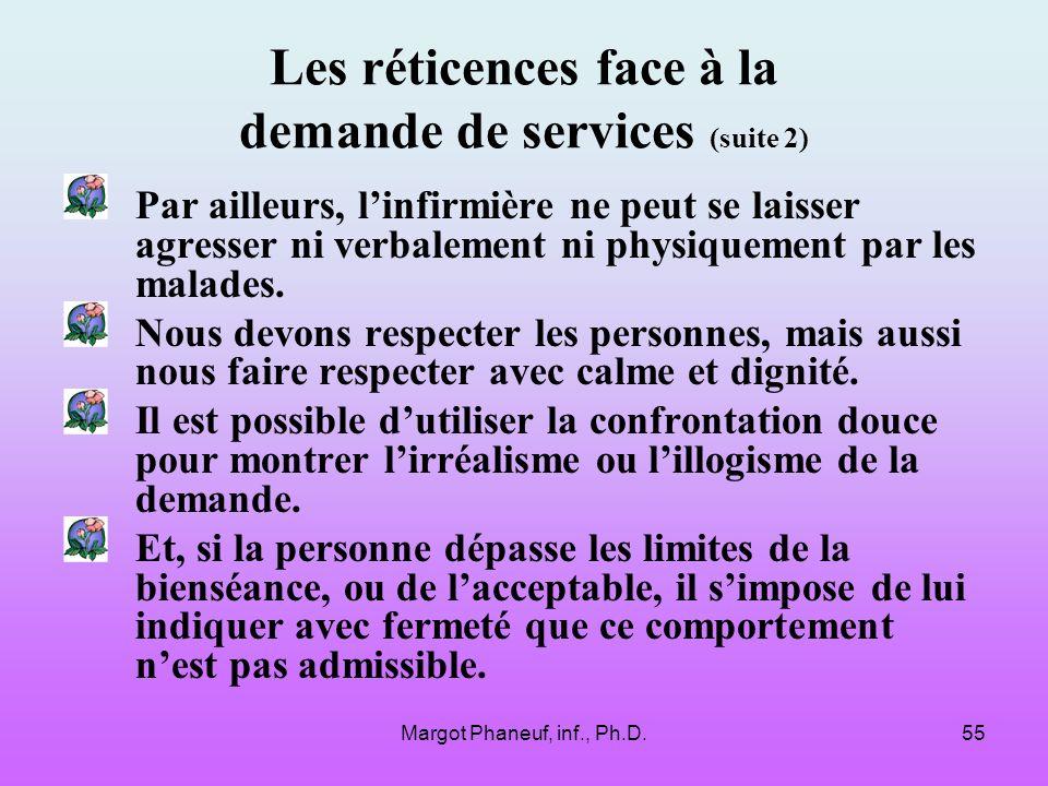 Les réticences face à la demande de services (suite 2)