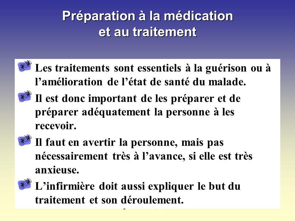 Préparation à la médication et au traitement
