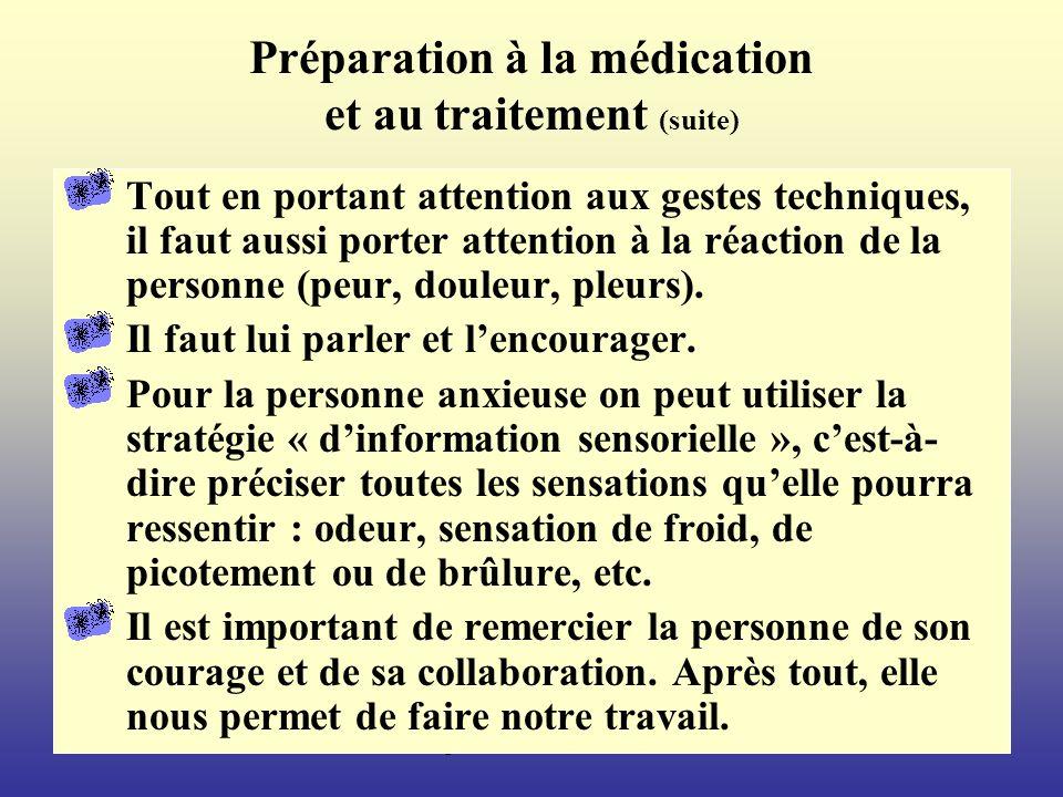 Préparation à la médication et au traitement (suite)