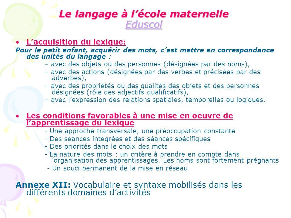Le langage à l'école maternelle Eduscol
