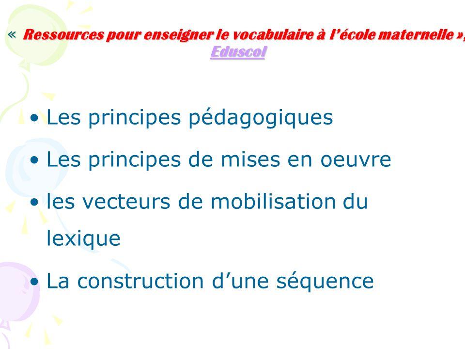 Les principes pédagogiques Les principes de mises en oeuvre