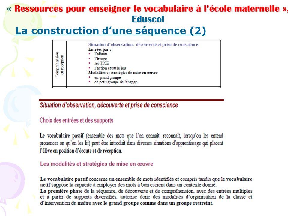 La construction d'une séquence (2)