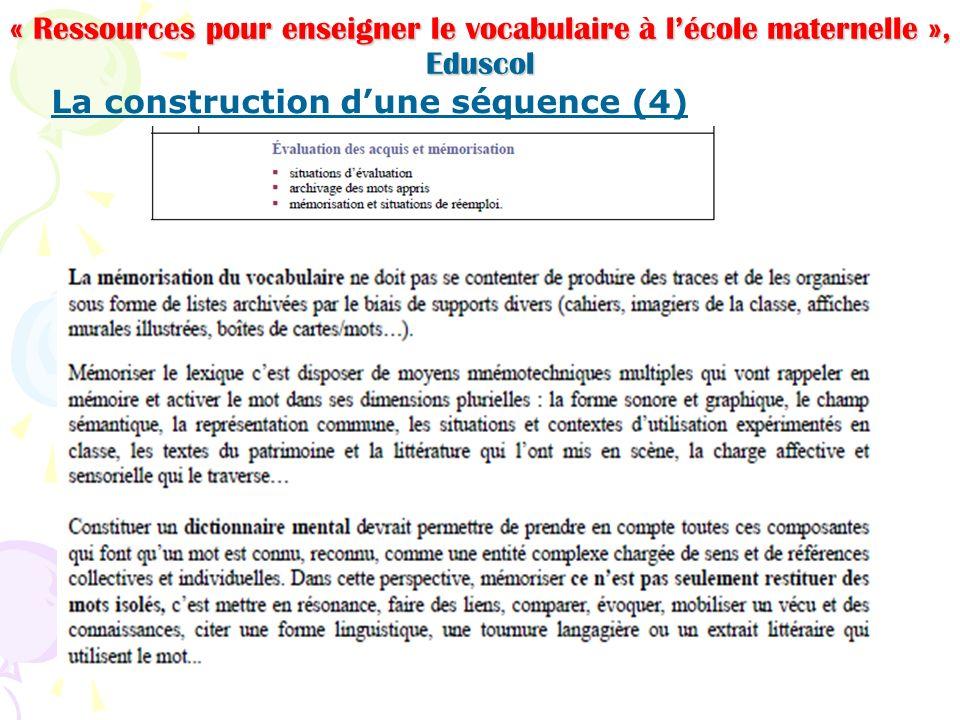 « Ressources pour enseigner le vocabulaire à l'école maternelle », Eduscol