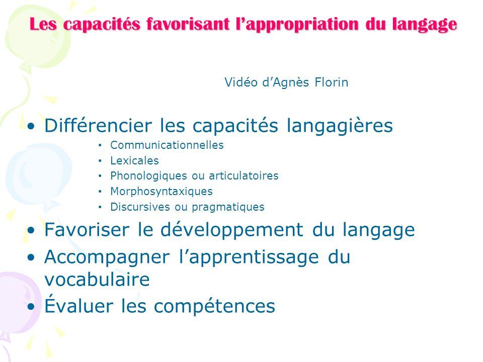 Les capacités favorisant l'appropriation du langage