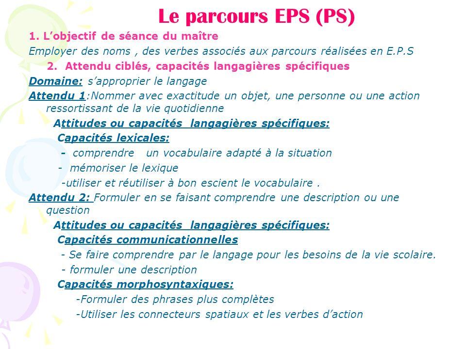 Le parcours EPS (PS) 1. L'objectif de séance du maître