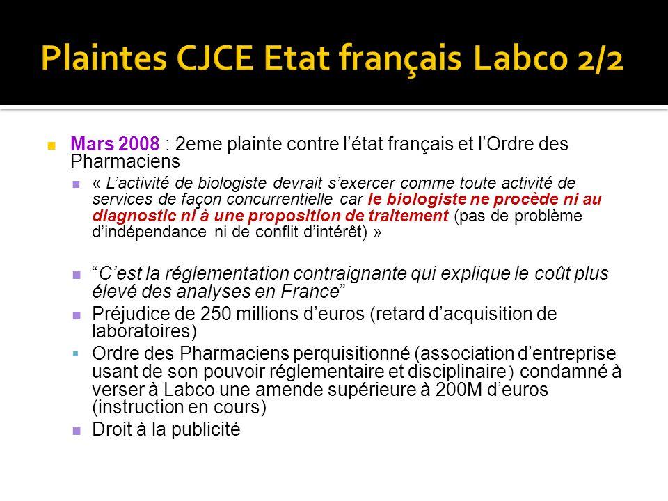 Plaintes CJCE Etat français Labco 2/2