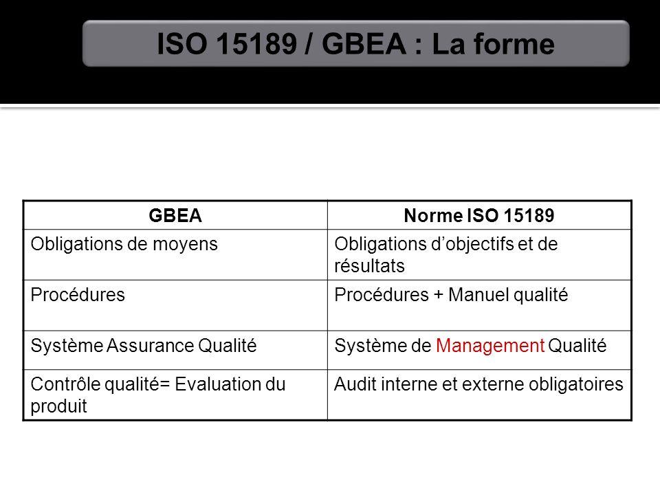 ISO 15189 / GBEA : La forme GBEA Norme ISO 15189 Obligations de moyens