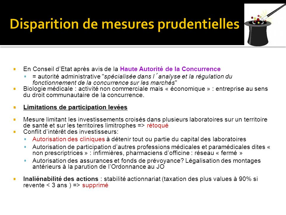 Disparition de mesures prudentielles