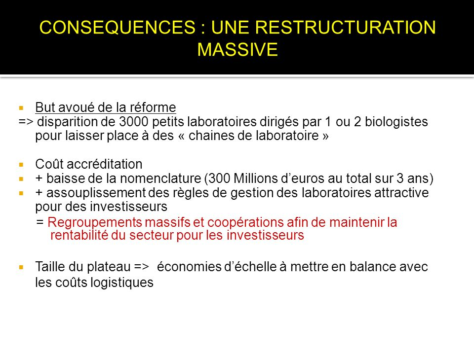 CONSEQUENCES : UNE RESTRUCTURATION MASSIVE