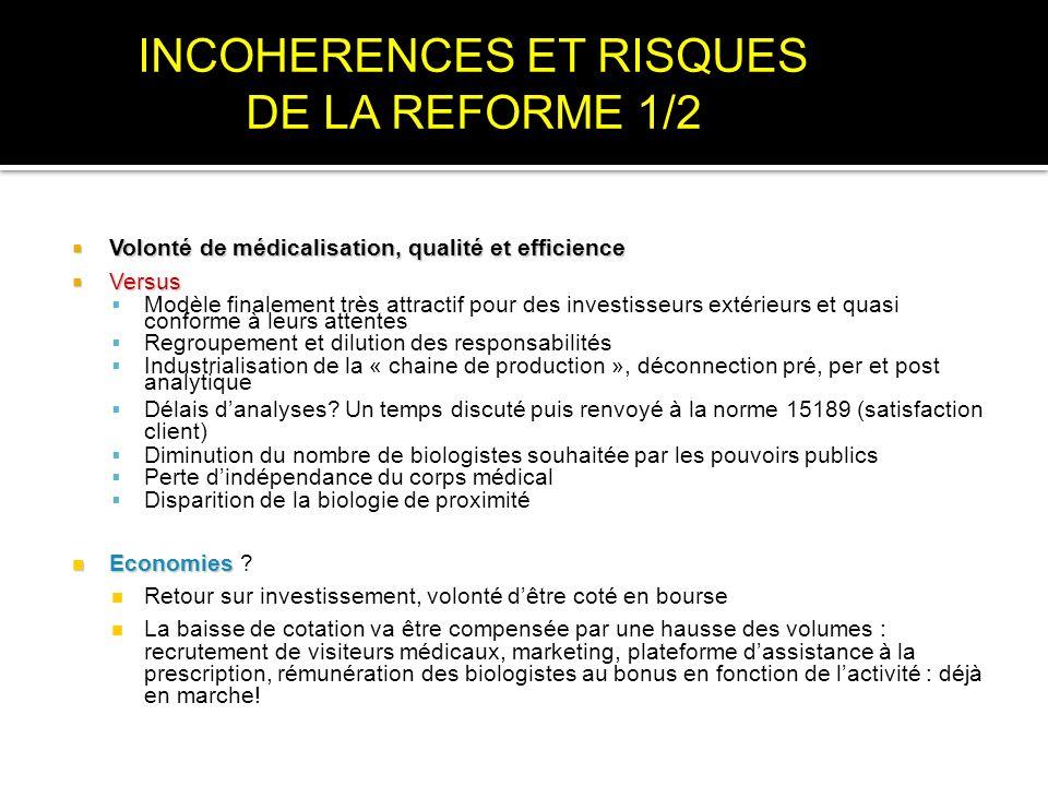 INCOHERENCES ET RISQUES DE LA REFORME 1/2
