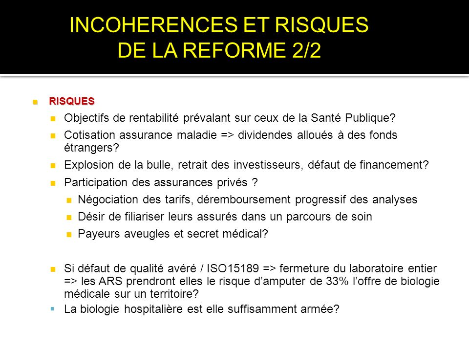 INCOHERENCES ET RISQUES DE LA REFORME 2/2
