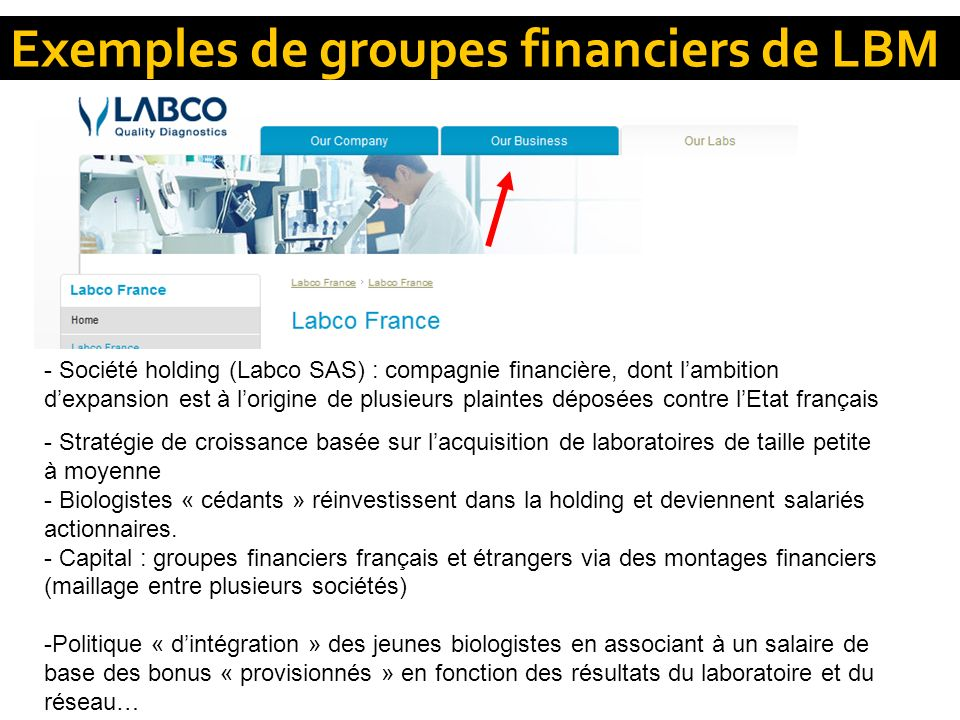 Exemples de groupes financiers de LBM