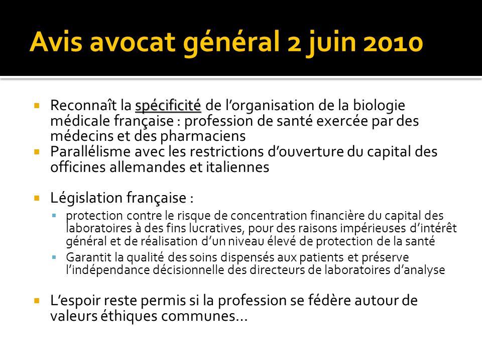 Avis avocat général 2 juin 2010