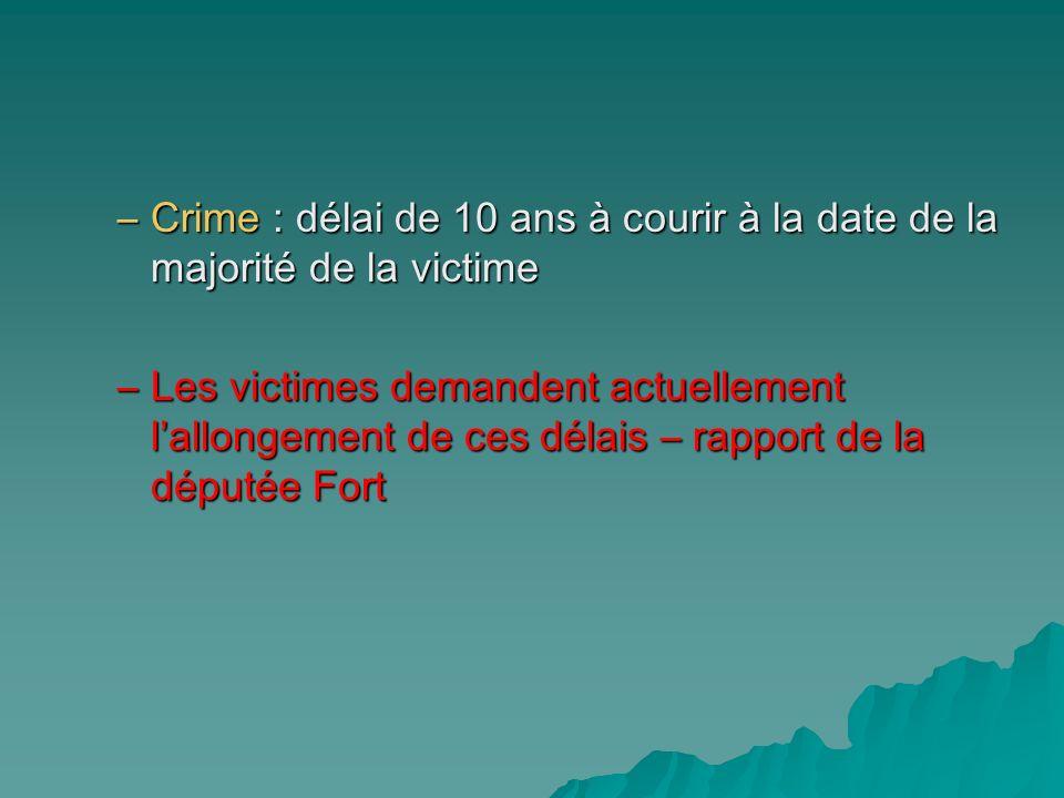 Crime : délai de 10 ans à courir à la date de la majorité de la victime