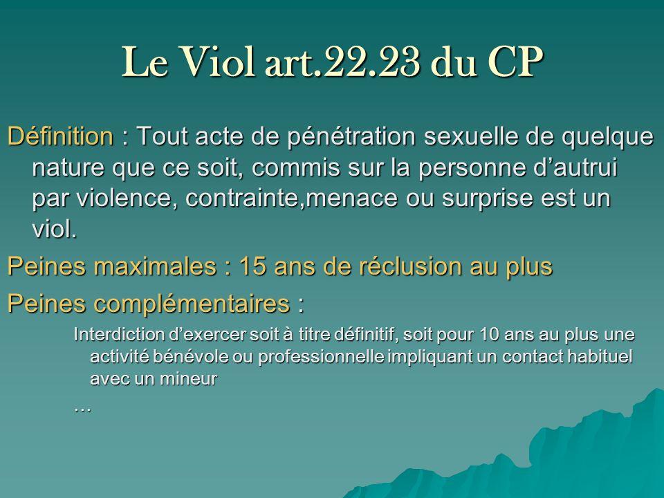 Le Viol art.22.23 du CP