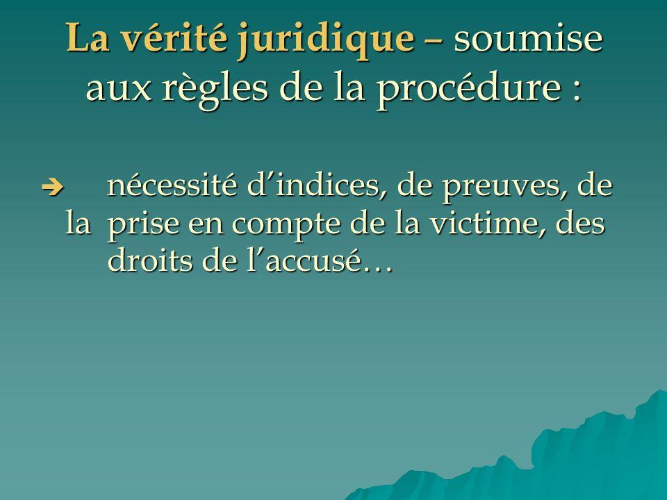 La vérité juridique – soumise aux règles de la procédure :